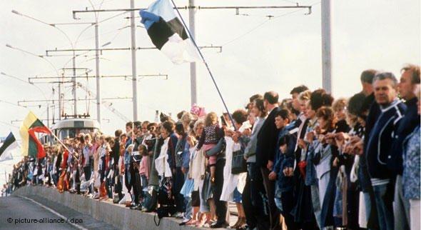 """Живая """"балтийская """"цепь 1989г."""